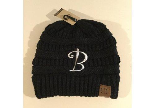 CC Initial Black Beanie B