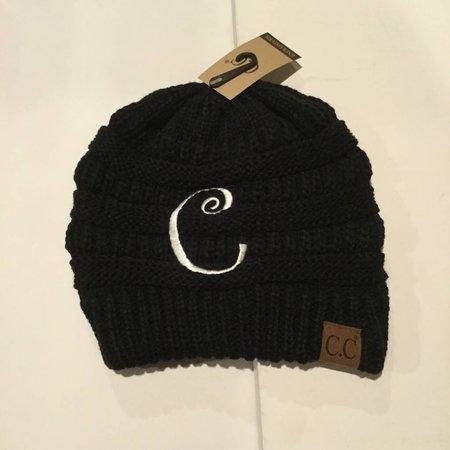 CC Initial Black Beanie C