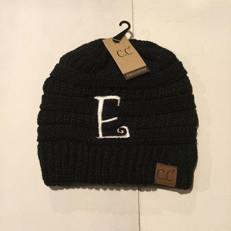 CC Initial Black Beanie E