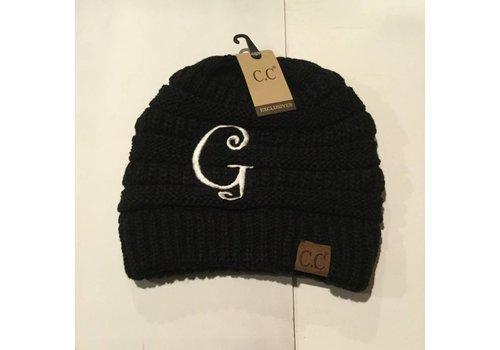 CC Initial Black Beanie G