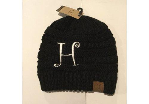 CC Initial Black Beanie H