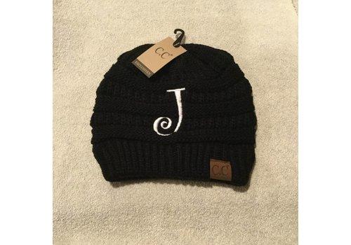 CC Initial Black Beanie J