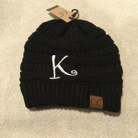 CC Initial Black Beanie K