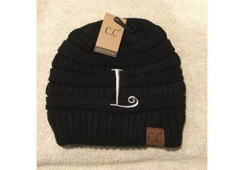 CC Initial Black Beanie L