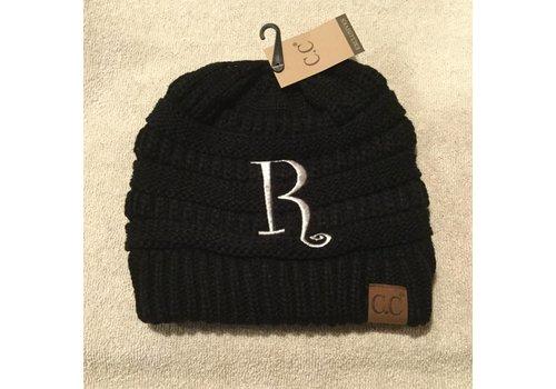 CC Initial Black Beanie R