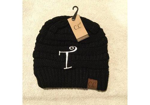 CC Initial Black Beanie T