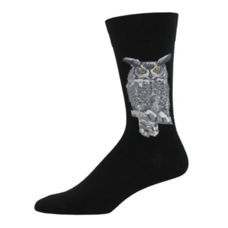 Sock Smith Great Horned Owl Black Size 10-13