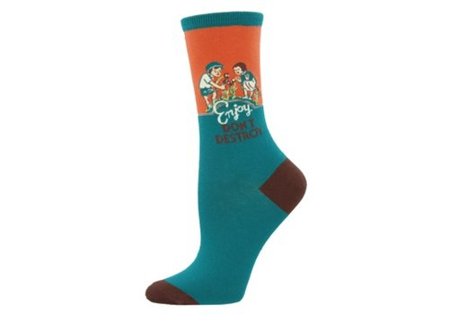 SockSmith Sock Smith Enjoy Don't Destroy Deep Aqua Size 9-11