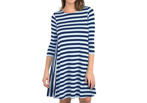 Striped Inset Dress Navy