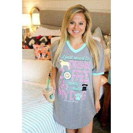 Sleep Shirt Hang With My Dog Dark Heather Grey
