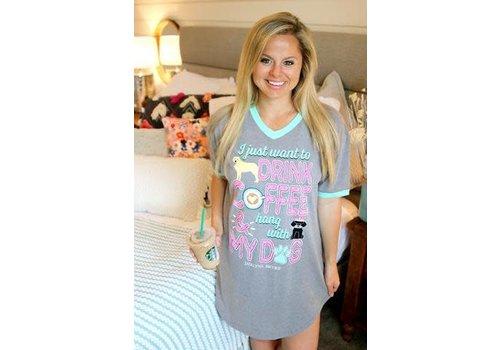 Jadelynn Brooke JLB Sleep Shirt Hang With My Dog Dark Heather Grey