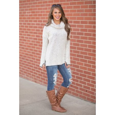 Boyfriend Pullover Cowl Neck Cream & Grey