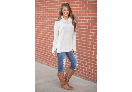 Jadelynn Brooke JLB Boyfriend Pullover Cowl Neck Cream & Grey