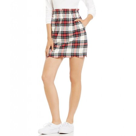 Lauren James Scallop Plaid Flannel Skirt