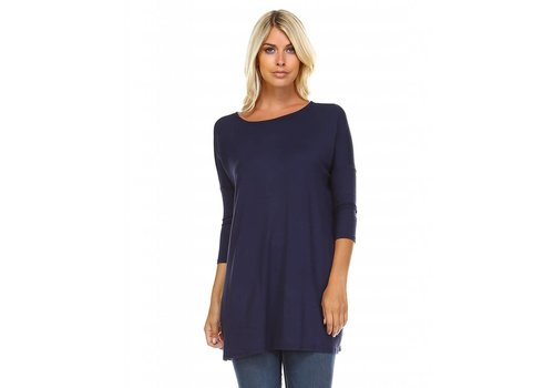 Corner Clothing 3/4 Ballet Sleeve Tunic Navy