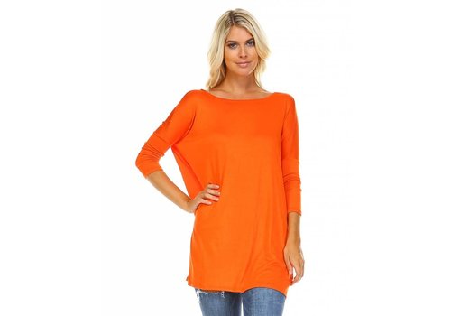 Corner Clothing 3/4 Ballet Sleeve Tunic Orange