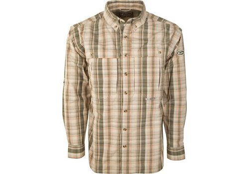 Drake Drake Wingshooter Madras Plaid Deep Long Sleeve Olive