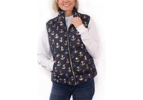 Simply Southern Simply Southern Quilted Vest Anchor Navy