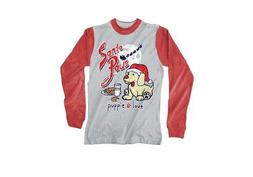Puppie Love Puppie Love Santa Paws Heather Grey Red Distressed Raglan