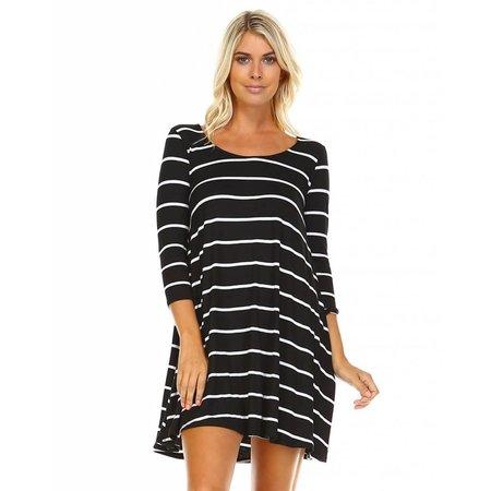 3/4 Sleeve Striped Tunic Black|Ivory