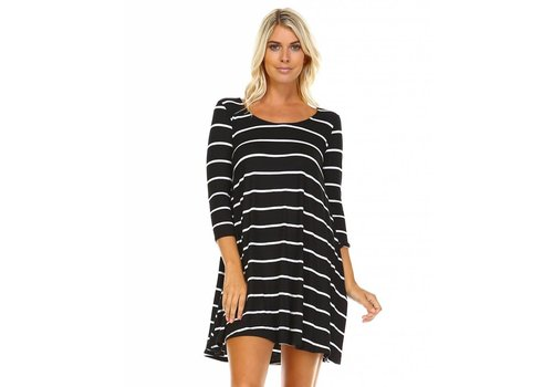 Corner Clothing 3/4 Sleeve Striped Tunic Black|Ivory