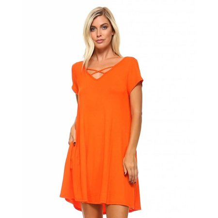 Criss Cross Front Dress Orange
