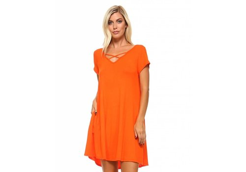 Corner Clothing Criss Cross Front Dress Orange