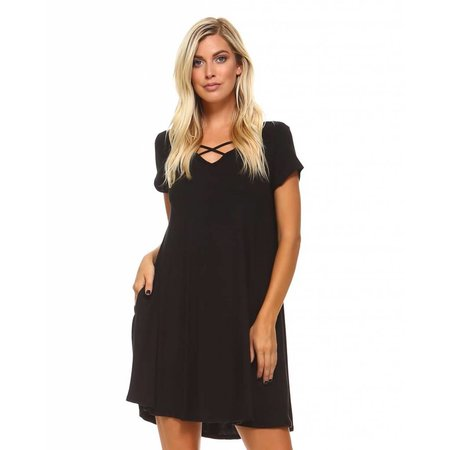 Criss Cross Front Dress Black