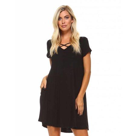 Criss Cross Front Dress Black