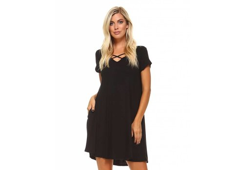 Corner Clothing Criss Cross Front Dress Black