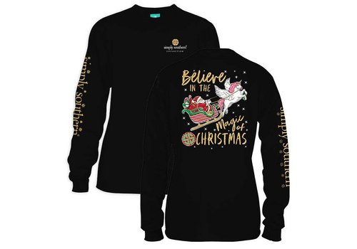 Simply Southern Simply Southern Believe in Magic of Christmas LS Black