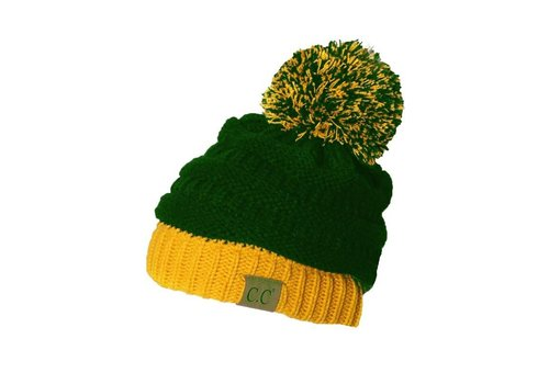 CC Beanie with Pom Pom Green|Gold