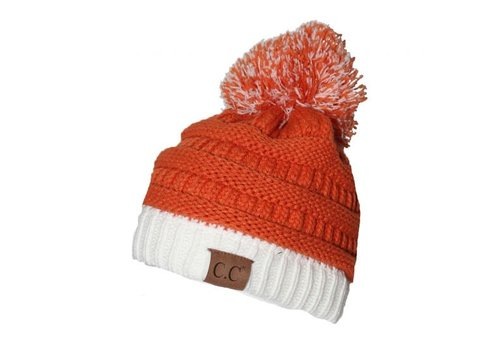 CC Beanie with Pom Pom Orange | Navy