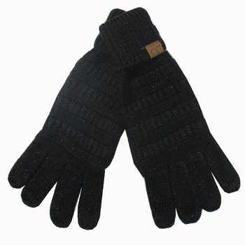 C.C Metallic Black Gloves