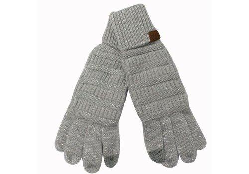 C.C Metallic Silver Gloves