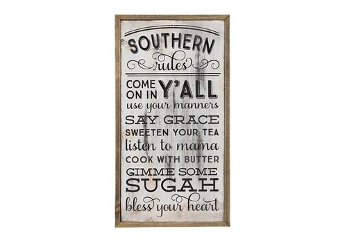 Wooden Wall Art Southern Rules