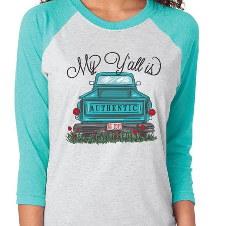 My Y'all is Authentic Raglan Long Sleeve T-Shirt