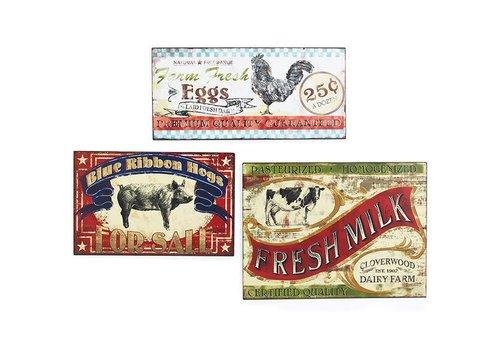 Farm Fresh Tin Sign Cow