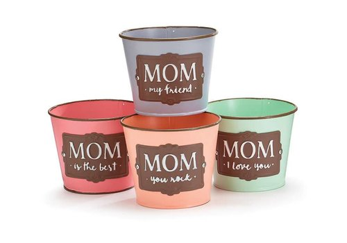 "Pot Cover 4"" Tin Mom Message Assorted"