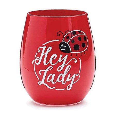 Wine Glass Stemless Hey Lady