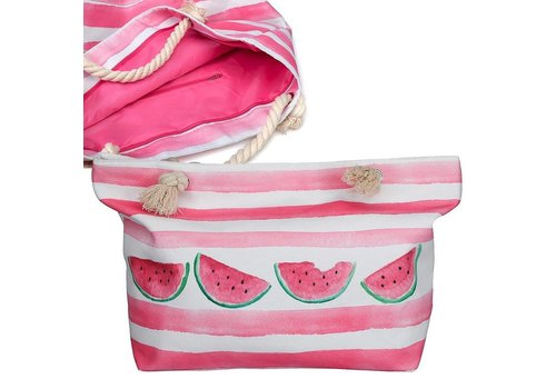 "Beach Break 22"" X 14"" X 7"" Lined Polyester Tote Watermelon"