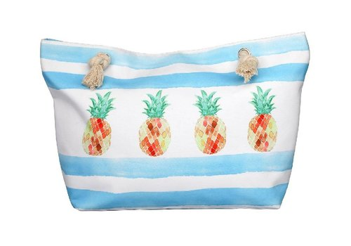 "Beach Break 22"" X 14"" X 7"" Lined Polyester Tote Pineapple"