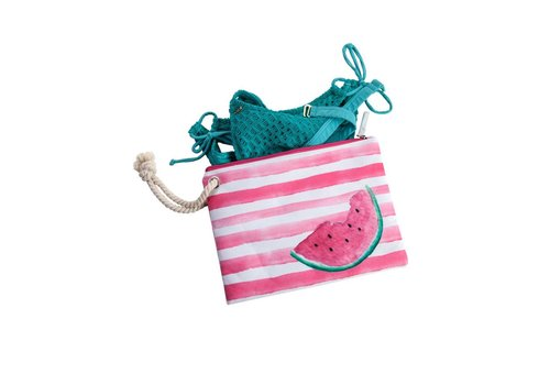 Beach Surf Bikini Bag With Rope and PVC Lining Watermelon