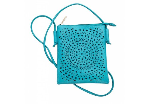 "Piper Perforated Crossbody Bag 7.25"" X 6"" With 51"" Strap"