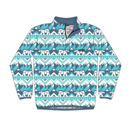 Southern Marsh Fairbanks Pullover White & Teal