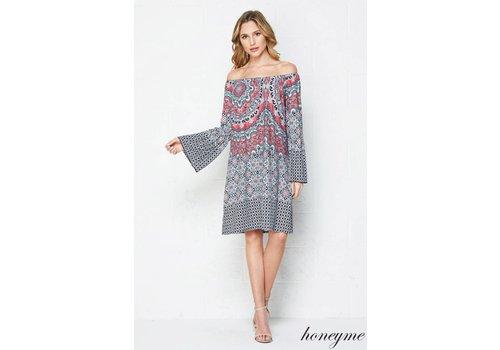 Honeyme Honeyme Border Print Tunic Dress Coral|Sage