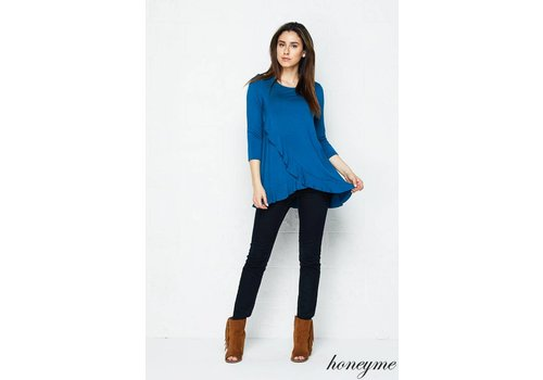 Honeyme Honeyme Split Front Ruffle Long Sleeve Top Teal