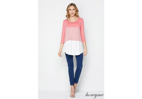 Honeyme Honeyme Color Block Top Coral