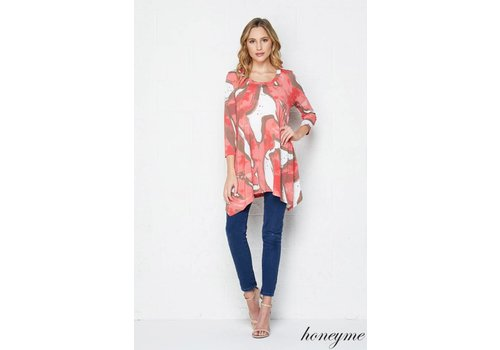 Honeyme Honeyme Side Drop Top Coral|Mocha