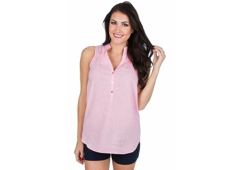 Lauren James Lauren James Callie Linen Top Candy Pink